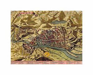 Maps Old Vintage Ivrea Town Plan Mountains Italy Canvas Print