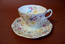 Foley Bone China 1850 E B - England - Cup & Saucer Overall Floral - Gold Trim