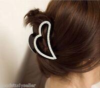 Korean Style Fashion Women Crystal Heart Shape Black Hair Claw Clips Hairpins
