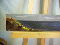 C Peterson ORIGINAL miniature ART oil painting SEASCAPE sunset clouds sea ACEO