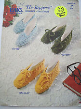 1976 King Knit Crochet Hi-Steppers Designer Collection Slipper Pattern 6 Styles