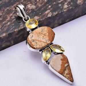 "Picture Jasper Citrine Ethnic Handmade Pendant Jewelry 3.2"" AP 30206"