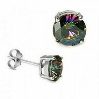 1 ct. Mystic Rainbow Topaz Stud Earrings in Solid Sterling Silver
