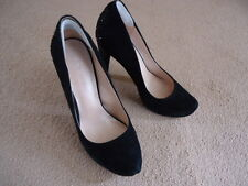 NINE WEST BLACK SUEDE COURT SHOES WITH SPARKLY HEEL