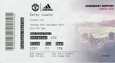 MANCHESTER UNITED V DERBY COUNTY CARABAO CUP ~ 25 SEPTEMBER 2018 MATCH TICKET