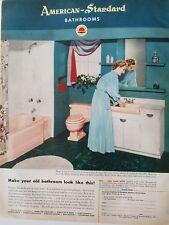 1952 American Standard vintage bathrooms pink tub toilet sink lady lingerie ad