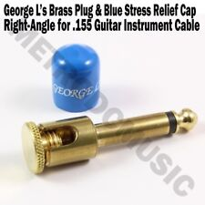 George L's BRASS RIGHT-ANGLE Plug & BLUE STRESS JACKET for .155 Cable Kits