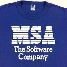 Vintage USA Made MSA Software Company T-Shirt Sz MEDIUM M Blue Russell Athletic