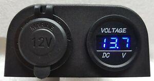 VOLTAGE METER LED + 12V POWER SOCKET CIGARETTE LIGHTER SURFACE MOUNT 4X4 AU