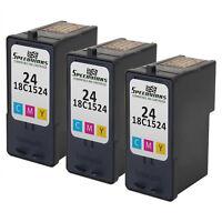 3PK For Lexmark 18C1524 (#24) Color Ink Cartridge X4550 X3550 Z1420 X4530 Z1410