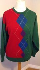 "Mens Vintage PRINGLE SPORTS Pure Wool LS Jumper Medium Chest 46"" Diamond Pattern"