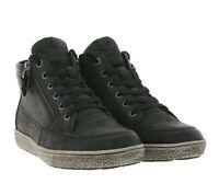 CAPRICE Mid Top Sneaker schlichte Echtleder-Schuhe mit Reißverschluss Schwarz