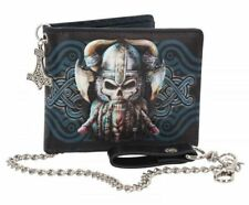 Mens Bifold Wallet Danegeld Viking Skull Design with Security Chain Gift NEW IN