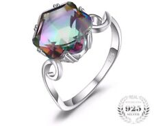 Ring Genuine Rainbow Solid 925 Fire Mystic Topaz Sterling Silver Women Jewelry