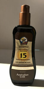 Australian Gold SPF15 Spray Gel Sunscreen with Instant Bronzer 8oz Pump Bottle.