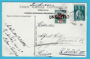 PORTUGAL PPC 1912 (?) Lisboa to Switzerland with postage due and forwarded