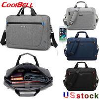 """CoolBELL Large 17"""" Laptop Handbag USB Charging Messenger Notebook Shoulder Bag"""