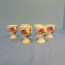 Vintage Moss Rose Egg Cups Set of Six Delicate paintings Gold trim MINT