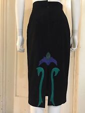 ORNATE SUEDE SKIRT vintage high waist pencil black snakeskin leather floral XS