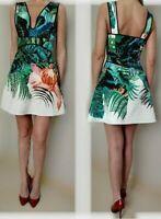 AUTH ROBERTO CAVALLI fern floral printed silk dress 38