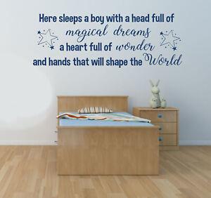 Here Sleeps a Boy, Wall Art Sticker Decal, Nursery, Bedroom, Children's decor