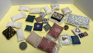 Vintage Pillow Lot Many Handcrafted E ANDREWS & More Dollhouse Miniature 1:12
