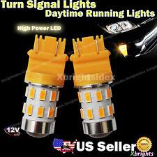 2pcs 3157 3156 High Output LED Turn Signal Light Bulb Amber Yellow Projector Len