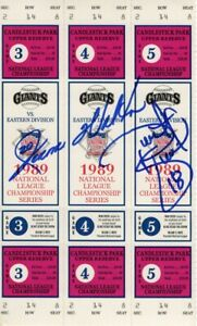 Jerome Walton Dwight Smith Signed Autographed 1989 NLCS Tickets Cubs JSA II25542