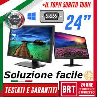 "PC MONITOR SCHERMO LCD 24"" POLLICI 16:9 FULL HD (DELL,LG,HP) DVI VGA DISPLAY 24h"