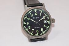 Glashütte Spezimat Titan Automatik Flieger Uhr Lederband neu guter Zustand