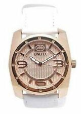 NEW-MARC ECKO UNLTD ROSE GOLD TONE ,WHITE LEATHER BAND,THE PHILLY WATCH E09508G4
