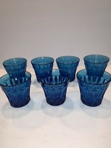 7 Vintage Noritake Perspective Blue Double  Old Fashioned Glasses HTF