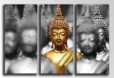 Cuadro Moderno Fotografico Budas base madera, 90 x 62 cm, Buda Buddha Retro
