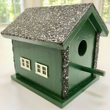 Clean Authentic Vintage Hunter-Green Birdhouse w/Real Roof Shingles Decor Window
