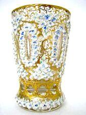 Rare!!! Zwischengold Glas Becher mit reliefierter Schneeballendekor um 1800