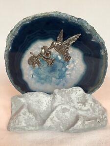 "Blue Agate Round Stone Slice 4"" Tea Light Candle Holder Hummingbird Flower USA"