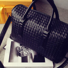 2016 vintage women Weave pu Leather Shoulder handbag messenger big Bag