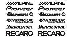 ALPINE, PIONEER, BARUM, HANKOOK, BRIDGESTONE, RECARO  car stickers decal #SK-004