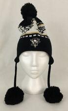 NHL Hockey Pittsburgh Penguins Fan Winter Knit Stocking Cap Pom Poms Tassels