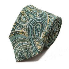 NWT $230 ISAIA Intricate Green Paisley Jacquard Print Cotton-Silk Tie