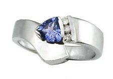 14k White Gold Genuine Trillion Tanzanite Ring with Diamonds. Size 7   (R531)