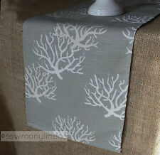 Merveilleux Gray Tan Taupe Table Runner Nautical Coastal Coral Reef Dining Home Decor  Linens