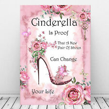 Cinderella Print ~ Cinderella Is proof A New Pair Of Shoes Quote Pink Wall Decor