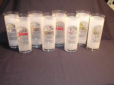 Eight Frosted Tall Drinking Glasses Holiday Scenes Through Windows, Very Nice