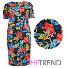 Womens Plus Size Plain Floral Scuba Midi Dress Ladies Knee Length Dress 16-26