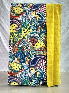 Vintage Indian Art Kantha Work Handmade Twin Size Blanket Quilt Throw Bed-Cover