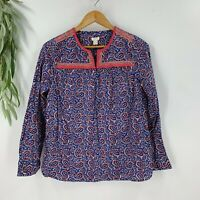 J.Crew Womens Printed Peasant Top Size XS Long Sleeve Blouse Shirt Cotton Floral