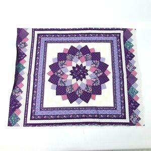 "Fabric Pillow Panel Purple Quilt Design Floral Calico 44"" x 18"" Two Squares"
