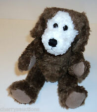 "n chocolate brown PLUSH PUPPY DOG  country craft 8"" simple jointed"