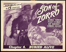 Son of Zorro -  Classic Cliffhanger Serial DVD  George Turner  Peggy Stewart